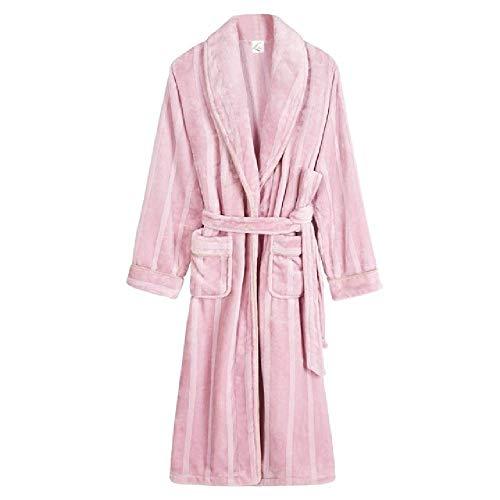 Women's Winter Robe Large Size M-3XL Long Thick Striped Kimono Long-Sleeved Coral Fleece Shawl Bathrobe