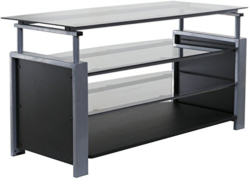 OneSpace 50-HDTV2 Basics Tv Stand with Steel Frame and Tempered Glass, Silver/Black
