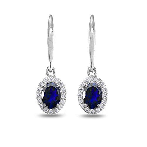 (Sterling Silver Created Blue Sapphire & White Topaz Dainty Oval Dangle Halo Leverback Earrings)