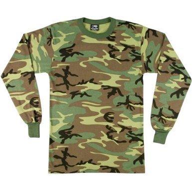 - 6678 Woodland Camouflage Long-Sleeve T-Shirt, 2XL