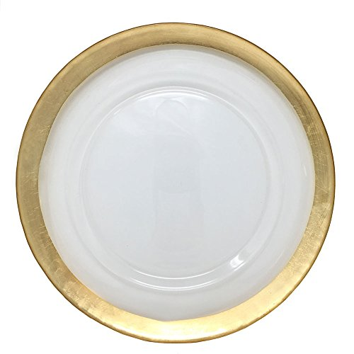 (Spectacular Glass Dinnerware Formal 13-Inch Gold Colored Edge Rim Clear Glass Charger Plate Wedding Party Dinner Modern Appeal Glass Plates (12))