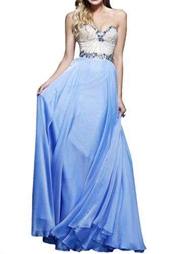 Strass Ausschnitt Abendkleid Promkleid Ivydressing Blau Herz Damen Festkleider Linie A 1w1tR