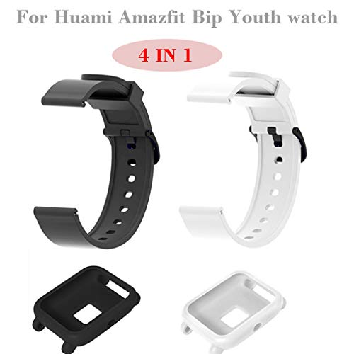 Quick Release Watch Strap for Huami Amazfit Bip Youth Watch Silicone Band+Silicone Potective Jacket 4 in 1for Men ()