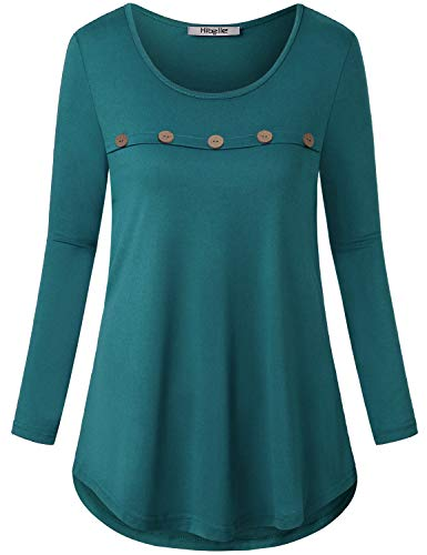 (Hibelle Long Sleeve Tunic Tops for Women, Loose Shirts Stylish Buttons Front Round Neck Maternity T Shirt Full Sleeved Soft Breathable Autumn Casual Daily Wear Dark Cyan XLarge)