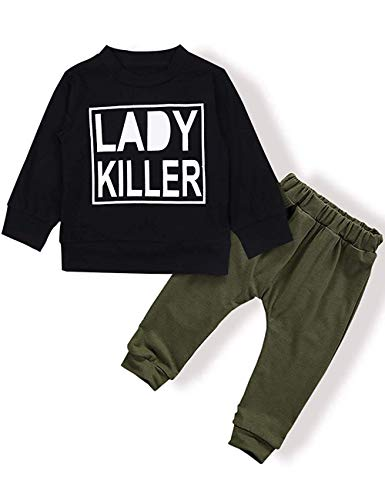 thes Long Sleeve Funny Letter Sweatshirt Top + Camouflage Pants Outfit Set (E-Black, 0-6 Months) ()