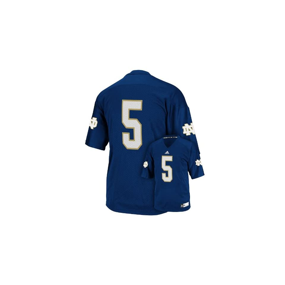 NCAA adidas Notre Dame Fighting Irish #1 Replica Football Jersey   Navy Blue (Small)