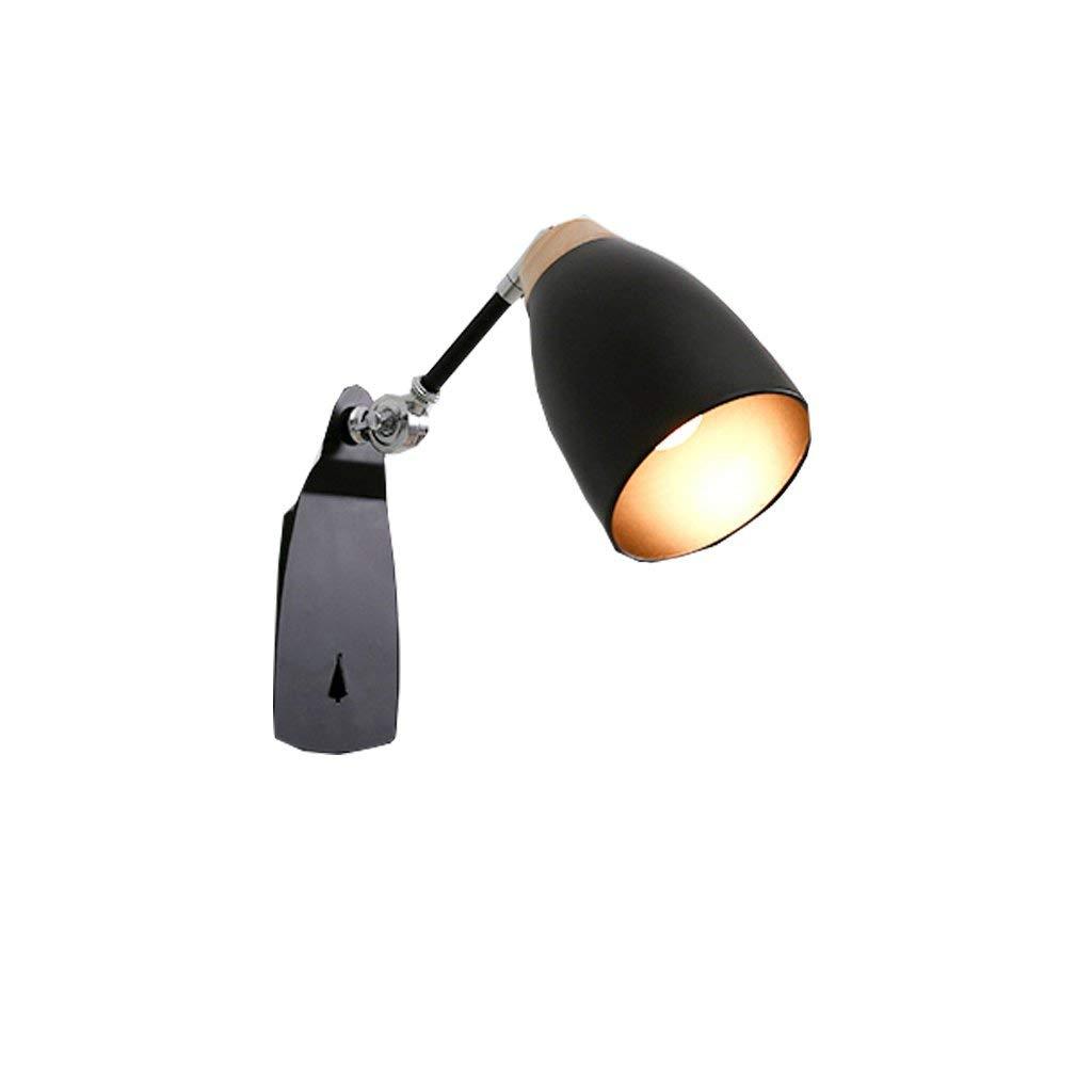 TJTJ ヨーロッパ式の壁ランプベッドサイドランプの寝室の居間の読書灯スイッチ壁ランプ壁ランプ (Color : ブラック)  ブラック B07SCXJLGF