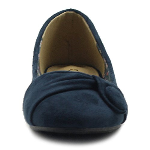 Ollio Womens Shoe Faux Suede Decorative Button Ballet Flat Navy gU6JJG