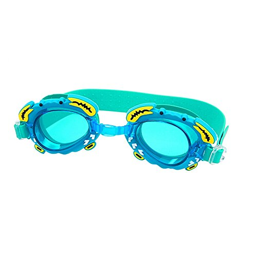 Benran Children's Small Crab Swim Goggles Waterproof Uv Protection Anti Fog Performance with Earplug (Sky Blue)