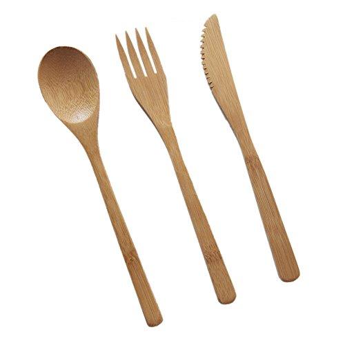 Juego de cubiertos de cubiertos para viaje, con bolsa de viaje, incluye cuchara de bambú, tenedor de bambú y cuchillo de mantequilla, juego de cubiertos de viaje, As Picture Show, without bag