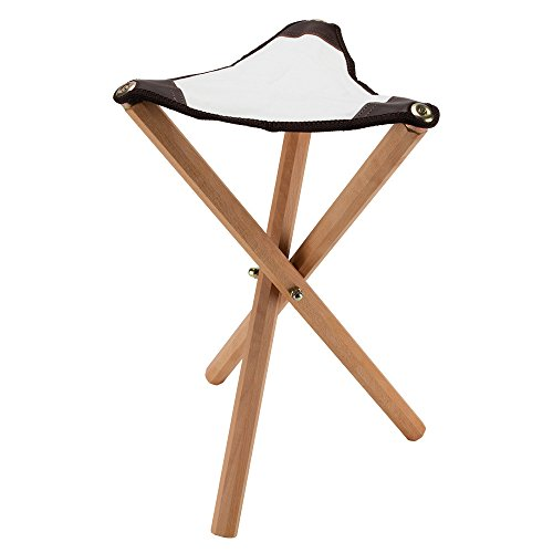 Creative Mark European Folding Artist Wooden Stool Perfect for Plein Air Painting and Travel, 21'' High 14'' Triangular Seat Supports Up To 195 lbs - Walnut Finish by Creative Mark