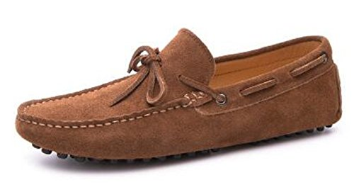 HAPPYSHOP Mens Casual Suede Leather Tassel Slip-On Loafers Driving Car Moccasins Outdoor Boat Shoes Brown
