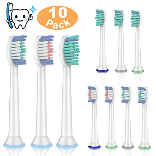 Replacement Brush Heads for Philips Sonicare[10 Pack 3 Color] Toothbrush Heads for Electric Toothbrush for Plaque Control/Gum Health/DiamondClean/HealtyWhite/FlexCare/EasyClean/Essence+ Snap On Handle