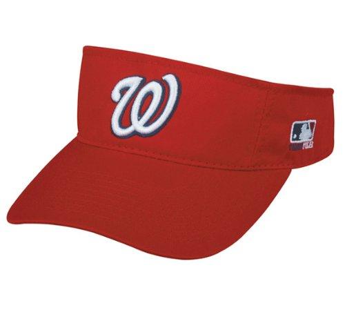 MLB ADULT Washington NATIONALS Home RED VISOR Adjustable Velcro TWILL