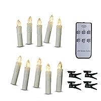 TBW Control remoto a pilas Velas cónicas de árbol de Navidad LED con clips remotos y extraíbles para bodas, Vigil y Menorah (4 '', marfil), paquete de 10