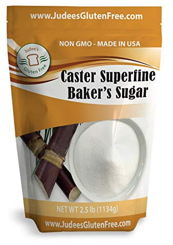 Extra Fine Sugar - Judee's Superfine Caster Baker's Sugar (2.5 lbs) Non-GMO ~ Made in USA ~ Packaged in a Gluten and Nut Free Facility