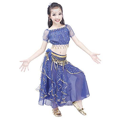 Maylong Girls Princess Dress up Belly Dance Skirt Halloween Costume DW52 (Large, Royal Blue)