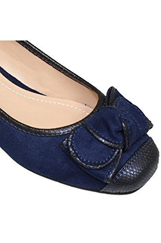 Suede Pump Low SAPPHIRE Snake Leather FLH872 II Flats Bow BOUTIQUE Missy Print Faux Blue Detail Accent Wedge fRwXRxOS