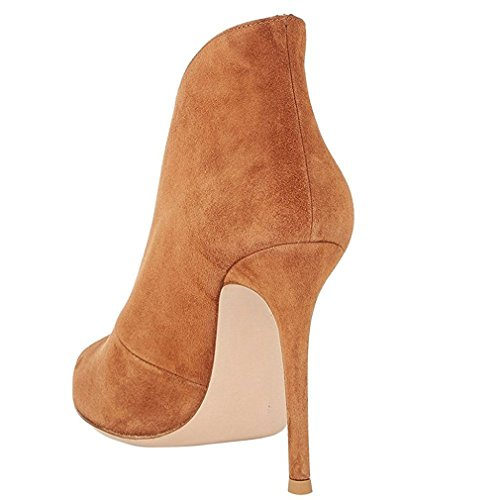 Enmayer Kvinnor Pu-material Peep Toe Skal Sandaler Boots Hög Klack Sommaren Och Våren Part Pumpar Sommaren Och Våren Part Pumpar Brun
