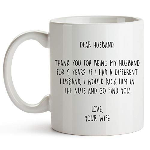 YouNique Designs 9 Year Anniversary Coffee Mug for Him, 11 Ounces, 9th Wedding Anniversary Cup for Husband, Nine Years