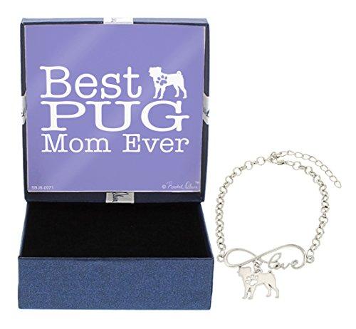 - Best Pug Mom Ever Love Infinity Charm Pug Bracelet Gift Silhouette Charm Bracelet Silver-Tone Bracelet Gift Pug Owner Jewelry Box