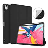 iPad Pro 11 Inch 2018 Case with Pencil Holder, Soke Premium Trifold Case [Strong Protection + Apple Pencil Charging Supported], Auto Sleep/Wake, Soft TPU Back Cover for New iPad Pro 11'(Black)