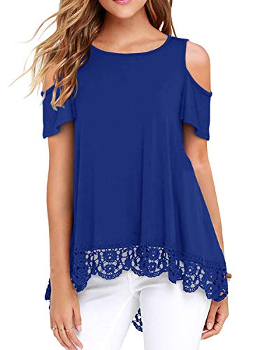 Women's Summer Short Sleeve Lace Trim O-Neck A-Line Cold Shoulder Tunic Tops Blouses Royal Blue Medium