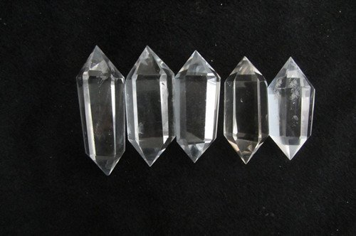 Healing Crystals India 6 Sided Prism Style Clear Natural Quartz Double Terminated Point, Large, 1.5