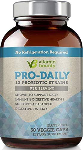Vitamin Bounty Pro Daily Probiotic + Prebiotic - 13 Strains, Delayed Release Capsules - Including Lactobacillus acidophilus, rhamnosus and Saccharomyces boulardii