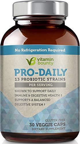 Probiotic Blend - Vitamin Bounty Pro Daily Probiotic + Prebiotic - 13 Strains, Delayed Release Capsules - Including Lactobacillus acidophilus, rhamnosus and Saccharomyces boulardii