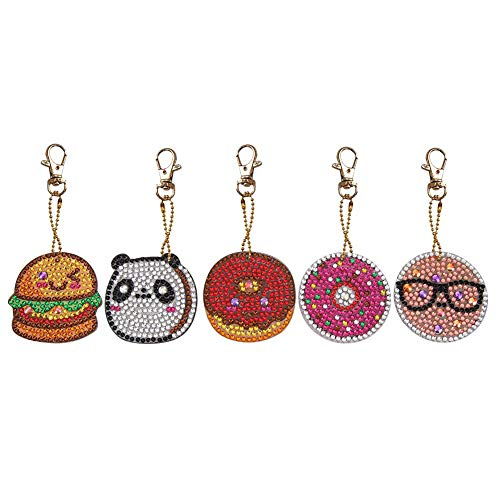 5pcs DIY Full Drill Special Diamond Painting Keychain Donuts Pendant Gift ()