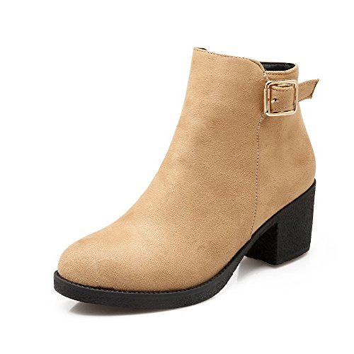 AgooLar Women's Imitated Suede Kitten-Heels Round Closed Toe Solid Zipper Boots Apricot