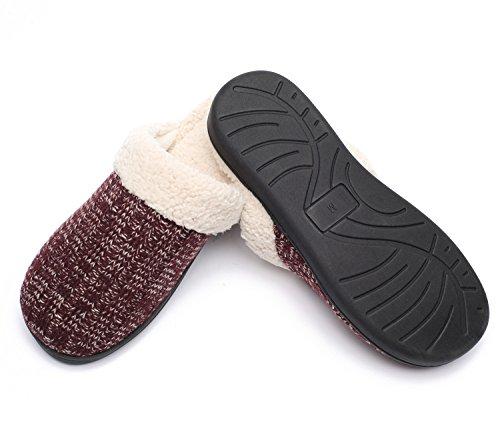Ofoot Womens Cashmere Maglione Cachemire Maglia Pantofole, Velluto Di Cotone Sherpa Lana Foderato, Memory Foam Tpr Sole House Shoes Borgogna