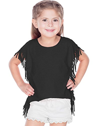 (Kavio! Girls 3-6X Sheer Jersey Raw Edge Side Fringe Asymmetrical Cap Sleeve Croptop Black 6X)