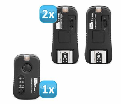 Pixel Pawn TF-361 Funk Blitzauslöser Set mit 2 Empfängern bis 100m für Canon Blitzgeräte - Funkauslöser Kamera- und Blitz
