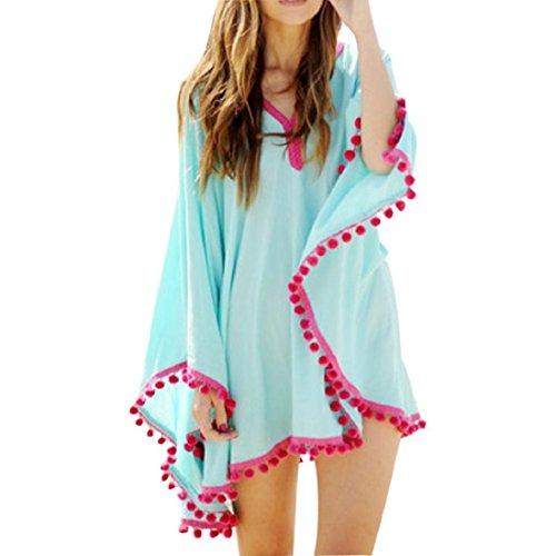GONKOMA Women Bikini Cover Up Chiffon Dress Long Sleeve Swimwear Beach Dress (S, Blue)