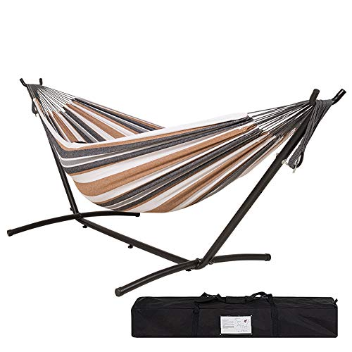 Lazy Daze Hammocks Double Hammock with 9FT Space Saving Steel Stand Includes Portable Carrying Case, 450 Pounds Capacity, White&Coffe (450 Carrying Case)