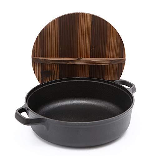 Huijunwenti Pan, cast Iron, uncoated, Non-Stick pan, Multi-Function, Frying pan, Household, Iron Pancake pan, Multi-Purpose, Soup hot Pot, Saucepan (Material : Stainless Steel Glass Cover)