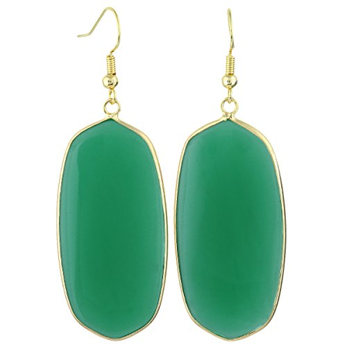 SUNYIK Women's Green Crystal Glass Oval Dangle Earrings, Gold Plated