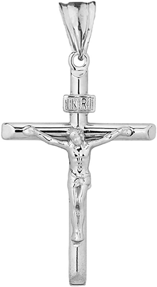 Fine 925 Sterling Silver Linear Cross INRI Crucifix Pendant Necklace Sizes S-L