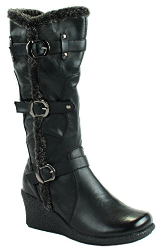 Forever Womens Eagle-66 Fur Mid Wedge Heel Boots With Buckle Straps Black