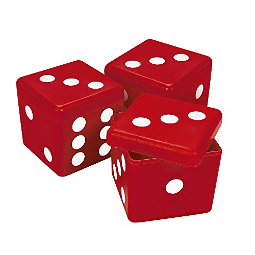 3 Red Dice Boxes for Bunco Parties or Casino Themed Events -