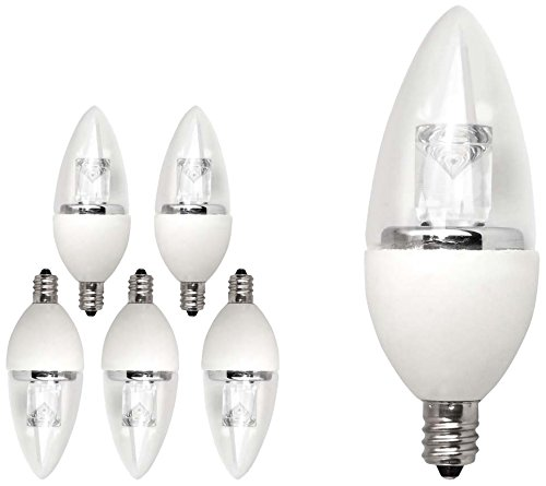 TCP 15W Equivalent LED Decorative Torpedo Candelabra Base Light Bulbs, Non-Dimmable, Soft White (6 Pack) ()
