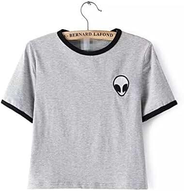 Blogger Striped ET Teen Girls Alien Crop Top Slim Tees Short Sleeve T-shirt