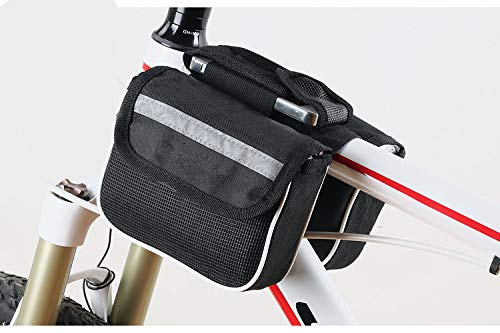 ling life Bicycle Front Tube Frame Bag Double Sided Mountain Bike Phone Holder Case Bicycle Frame Panniers Bike Pouch Accessory(Black)