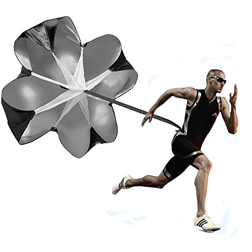KUYOU Running Speed Training 56 inch Speed Training Resistance Parachute Umbrella Running Chute & Fitness Explosive Power Training (Black)