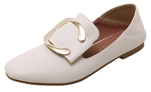 AllhqFashion Womens Low-Heels Soft Material Solid Closed-Toe Pumps-Shoes Beige