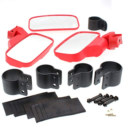 2' Kawasaki Mule - Kawasaki Mule 2510 2520 3000 3010 4000 Red UTV Side & Rear View Mirror Kit