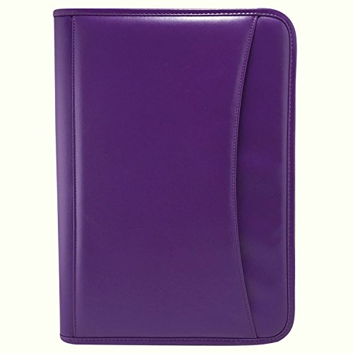 MSP Letter Size Interview & Resume Document Organizer, Travel Portfolio with Smooth Zip Closure, Calculator, Zipper Inner Pocket, Phone and Tablet Sleeve in PU Leather (Purple) (Simulated Leather Zippered)