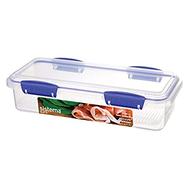 Sistema Klip It Collection Rectangle Deli Food Storage Container, 40.5 ounce/ 5 cups